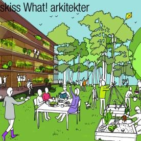 Idéskiss av What! arkitekter för vårt projekt Boihop Högsbo